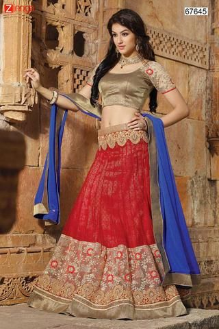 Women's Pretty Circular Lehenga Style in Red With Lace Work Dupatta  #Zinngafashion #Lehengas  #Pretty #Special #Offers #Happy#Shopping #Indianwear   #LatestTrend #Womenswear #Designwear #Nice #Picoftheday #Wonderful