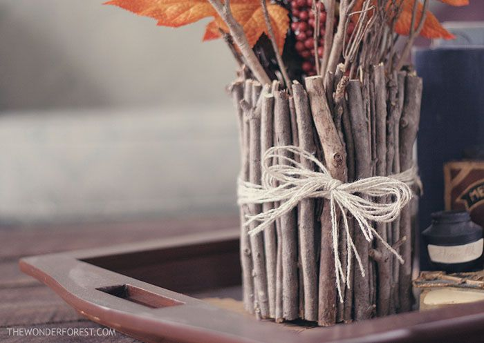Vase made out of twigs and sticks