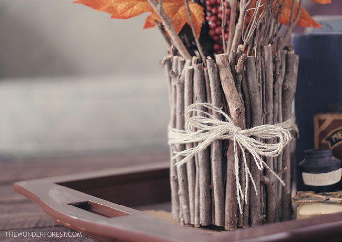 make a vase out of sticks: Vase, Crafts Ideas, Fall Decor, Rustic Decor, Natural Crafts, Sticks, Tins Cans, Centerpieces, Diy