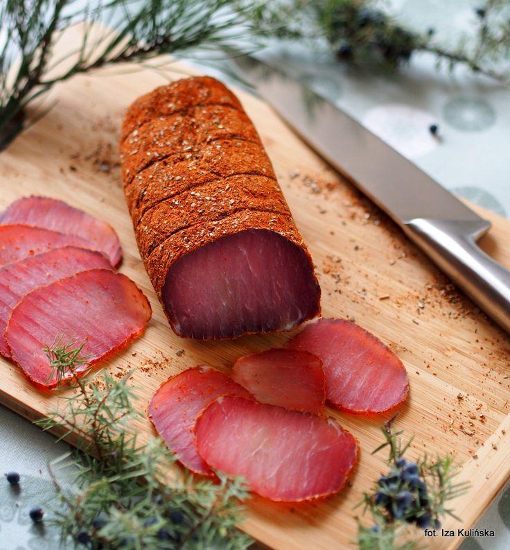 Smaczna Pyza: Suszony schab wieprzowy na ostro. Schab z pończochy