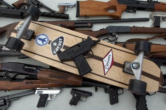 Fully Automatic Weapons Exchanged for Longboards in Los Angeles