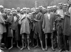 """Starving prisoners, nearly dead from hunger, used for """"scientific"""" experiments at the Ebensee, concentration camp in Austria. The camp was liberated on May 7, 1945."""