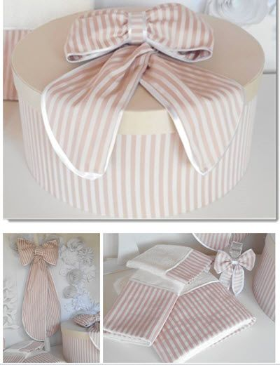Christening Set- Round Size - 44x20 cm  Dusty pink and Ivory  Stripe  base with plain Ivory  lid - Cotton Fabrics