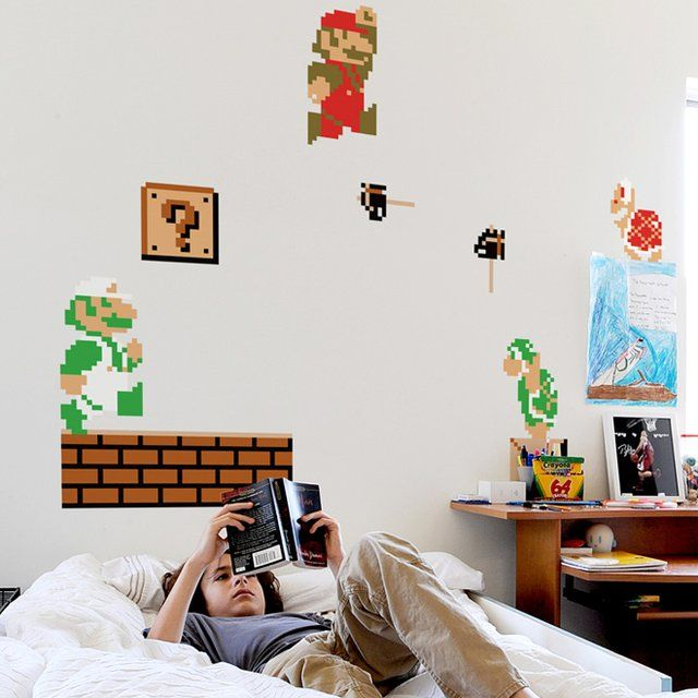 These Super Mario Bros #Nintendo Wall Graphics are reusable vinyl wall decals brought to you courtesy of #ThinkGeek.