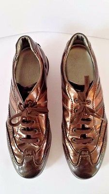 Hogan by TOD'S woman brown leather sneakers trainers shoes,eu 38.5, us 8, uk 5.5