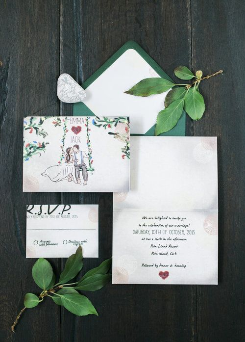 Lovebirds on a swing invitation suite with blight woodland detail by Lilly Cinnamon Wedding Stationery