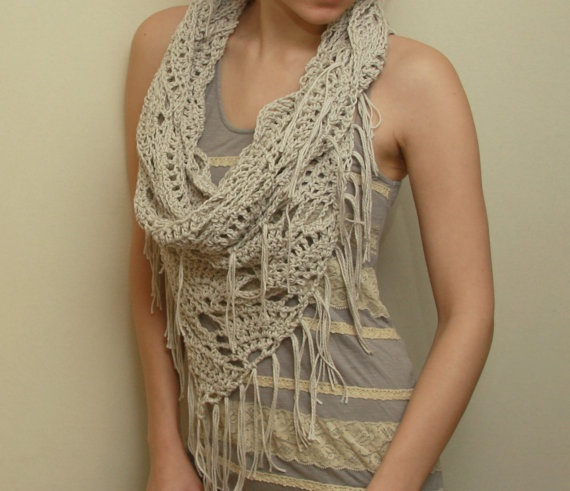 oversized slouchy triangle lace cowl with fringes. design & pattern by ElevenHandmade