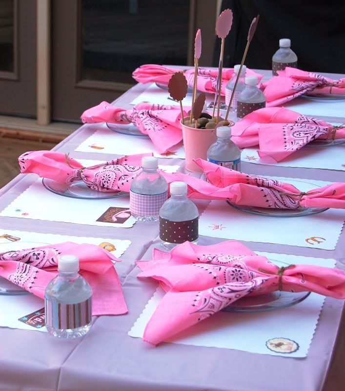 Cowgirl Party settings. .. could change the colors for little cowboys!!   Cute and simple ... Add some horseshoes, cowgirls or cowboys , hats etc. to make it pop...