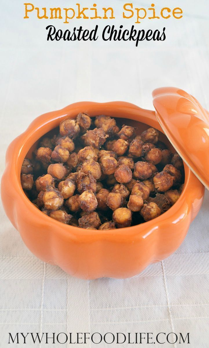 Healthy snack idea. Pumpkin Spice Roasted Chickpeas. Vegan, gluten free and free of refined sugars. The perfect Fall pumpkin recipe.