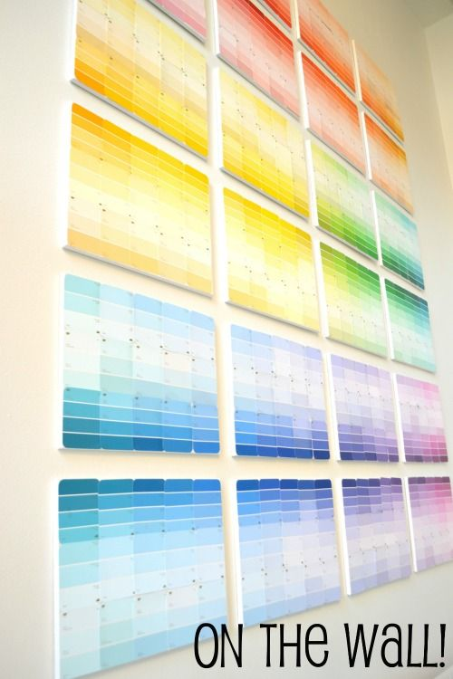 instant color in your home with wall art made from (Behr) paint chips by Papery and Cakery