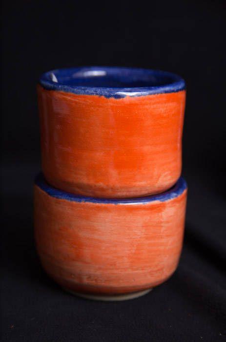 Small Orange/Blue Tea Mugs;Stoneware;Army Veteran;Veteran Owned;Disabled Woman Veteran;Female Veteran;Wheel Thrown by TazChessieArtwork on Etsy