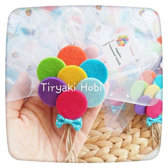 ♥ Tiryaki Hobi ♥: Keçe bebek şekeri / doğumgünü magneti - balon demeti (MUHAMMED MUSTAFA)