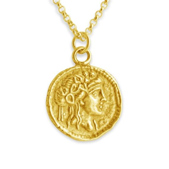 Medallion Necklace Gold Chain Necklace Ancient Greek Coin Replica Greek Coin Necklace  Silver Stainless Steel Necklace