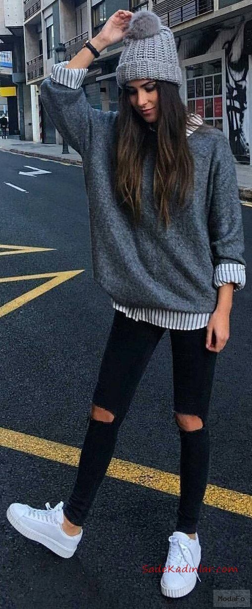 2019 Shirt Sweater Combinations Black Skinny Ripped Pants White Patterned Shirt Gray Pullover White Sneaker Sport Shoes