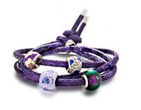 Amore & Baci purple leather bracelet with mixes silver beads
