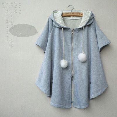 Japanese cute students hooded cloak coat