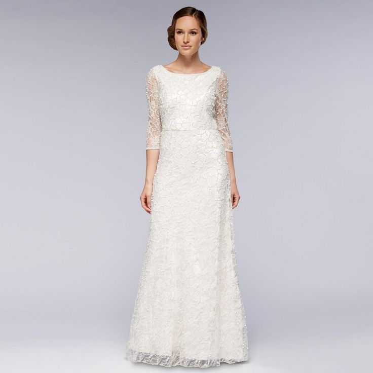 This beautiful hand-embellished dress from our Debut collection features an elegant lace and beaded finish for a stunning, all-over shimmer effect. Ideal for winter weddings, it features flattering 3/4 length sleeves and an elegant, dipped cowl back.