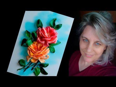 ВЫШИВКА ЛЕНТАМИ - Розы урок 1 - от Наталии Уритян - YouTube