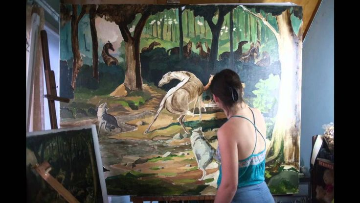"""""""Wolves"""" creation of big canvas"""