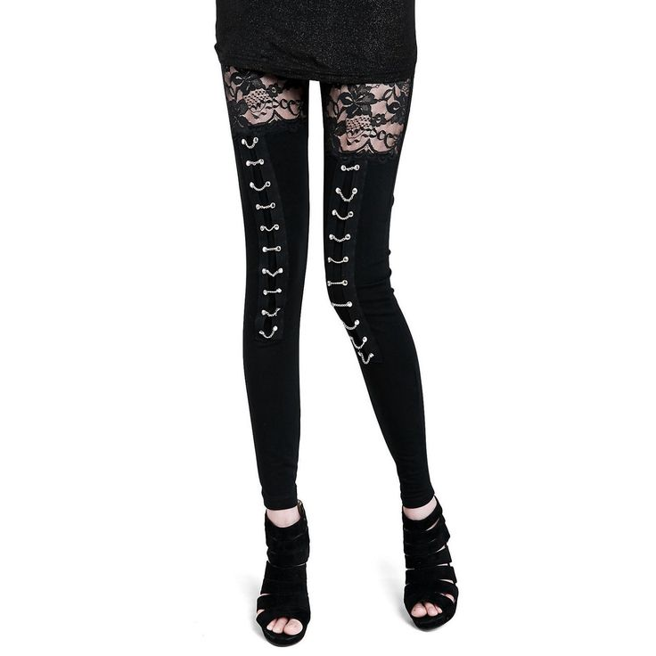 Collager Women's Fashion Punk Rock Gothic Sexy Lace Leggings at Amazon Women's Clothing store: