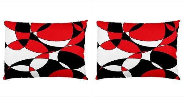 Black, White and Red Ellipticals Pillow Case (both Sides) by Khoncepts
