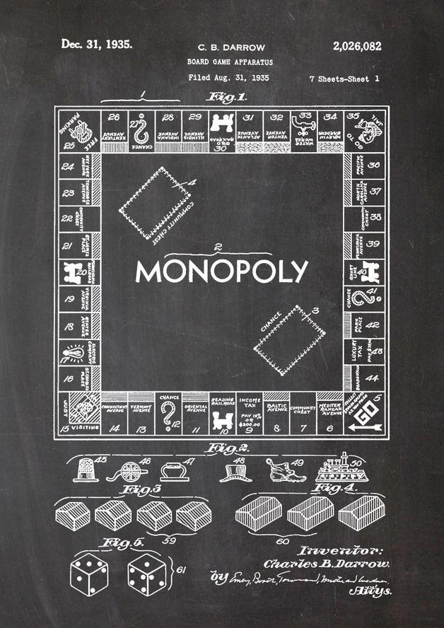 Monopoly Spiel, Spielbrett, Würfel, Häuser, Wandkunst  http://de.dawanda.com/product/79176687-Monopoly-Brettspiel-Wuerfel-Spiel-Druck-Patent