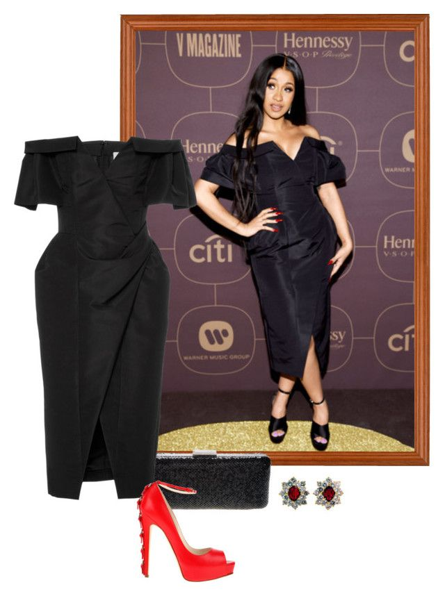 """Cardi B – 2018 Warner Music Group Pre-Grammy Party."" by foreverforbiddenromancefashion ❤ liked on Polyvore featuring Armani Exchange, Carolina Herrera and Brian Atwood"