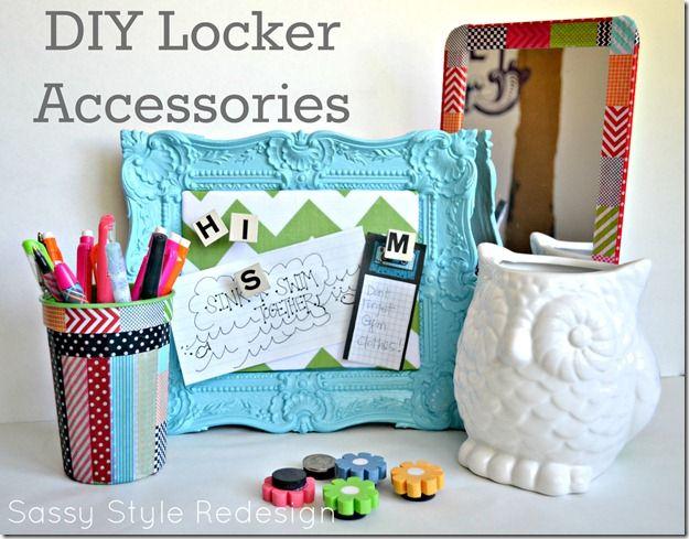 DIY locker accessories from Sassy Style Redesign #Backtoschool #diy #locker accessoriesAccessories Pin, Schools Ideas, Lockers Ideas, Diy Lockers, Lockers Stuff, Locker Accessories, Lockers Decor, Backtoschool, Lockers Accessories
