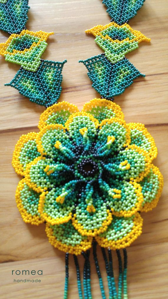 3 D Flower - Huichol Art - Beaded Necklaces - Romea Accessories - Made in…