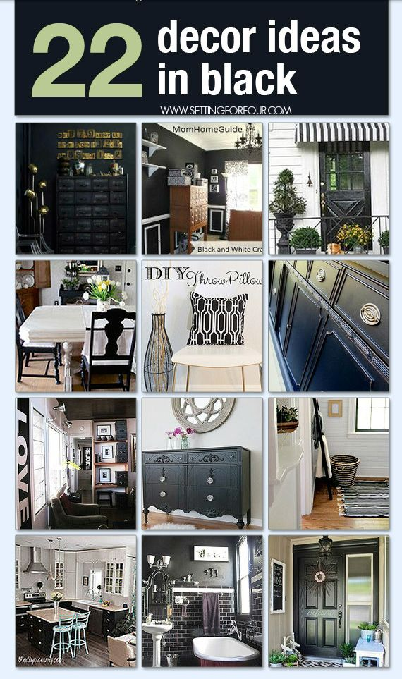 See these 22 Stylish DIY Decor Ideas in Black! Adding black to a room will add amazing contrast and interest! It's a design adage that's tried and true! www.settingforfour.com