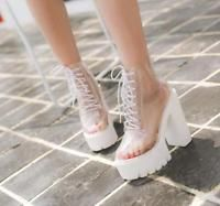 Womens Transparent Ankle Boots High Chunky Heels Platform Sandals Lace Up G734