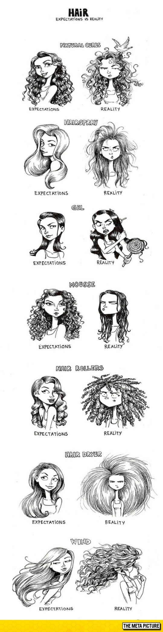 Women's Hair: Expectations Vs. Reality