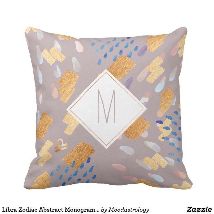 Libra Zodiac Abstract Monogram Pale Mauve Pillow