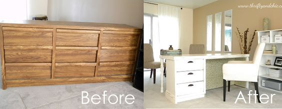 Turn an outdated or broken dresser into a cute chic desk! Shows step by step instructions, even has a ledge and corbels on the other end. Great repurposing project.