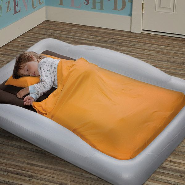 an air mattress with raised sides is brilliant for traveling with little kids
