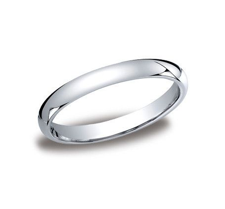 3mm Classic Comfort fit Slightly Domed Plain Wedding Band In 14K White Gold LCF13014KW-IBMD