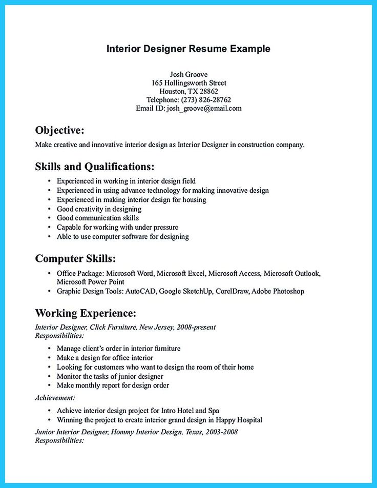interior designer cv word format design template resume architect junior samples