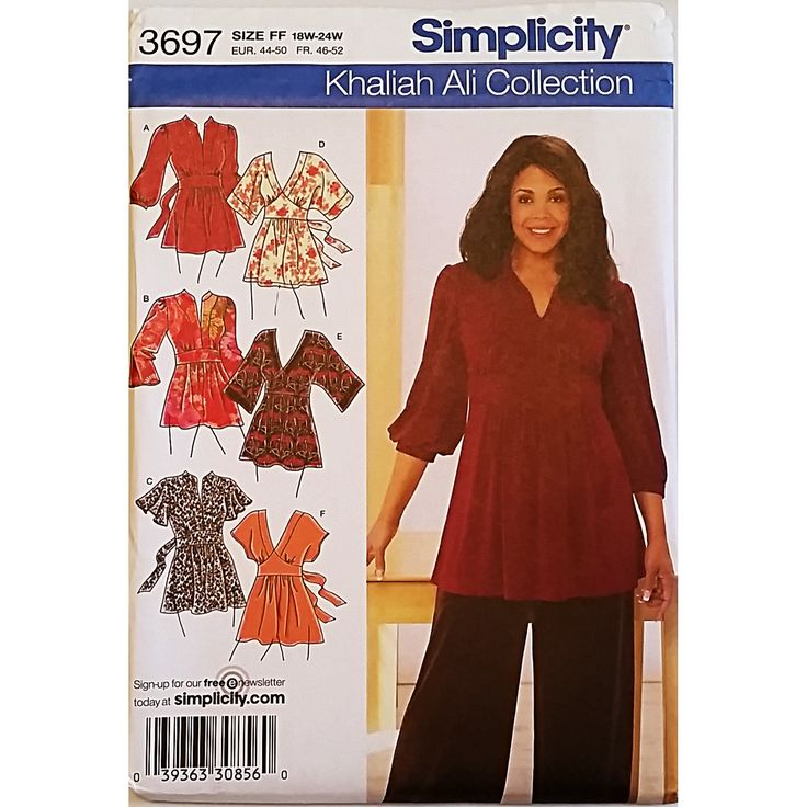 Misses Knit Woven Tunics Simplicity 3697 Sewing Pattern Size 18-24W c1642
