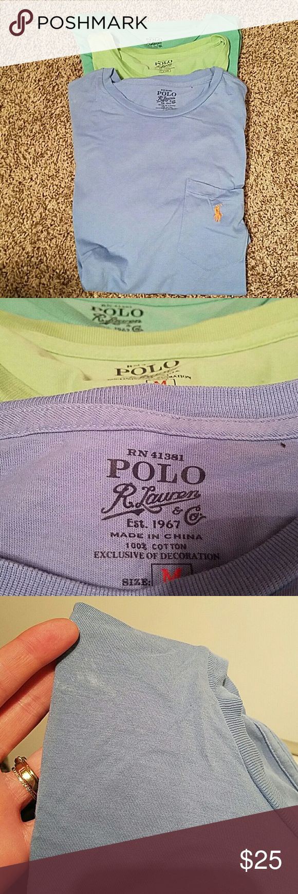 Lot of 3 Men's Ralph Lauren Polo Tee Shirts 3 Ralph Lauren Polo Tees  in lime green, sea foam and light blue. Worn a few times. Minor imperfections pictured above. My husband hated the neck lines on them. You can have all 3 for price listed or best offer. Polo by Ralph Lauren Shirts Tees - Short Sleeve