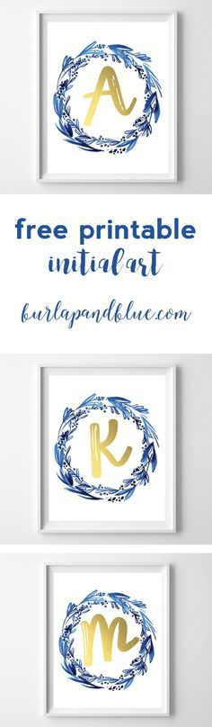 free printable initial art in indigo and gold! perfect for a gift, nursery or home decor.