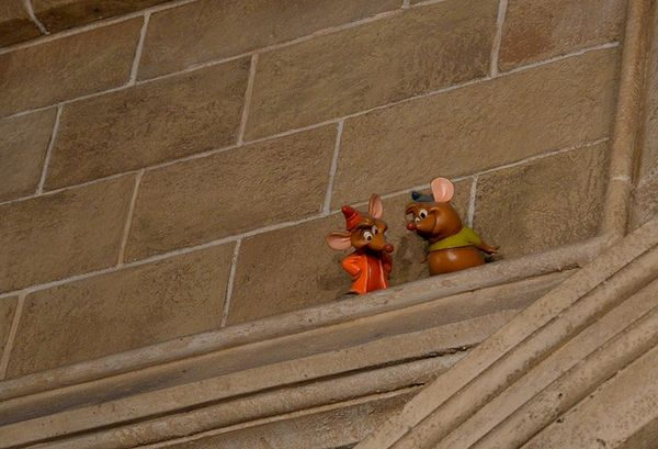 "Secrets from Each Land of Disney's Magic Kingdom- ""Look for Jaq and Gus (Cinderella's mouse-friends) in the rafters of the lobby."" of Cinderella's Castle"