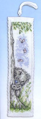 Teddy bear bookmark - free cross stitch pattern