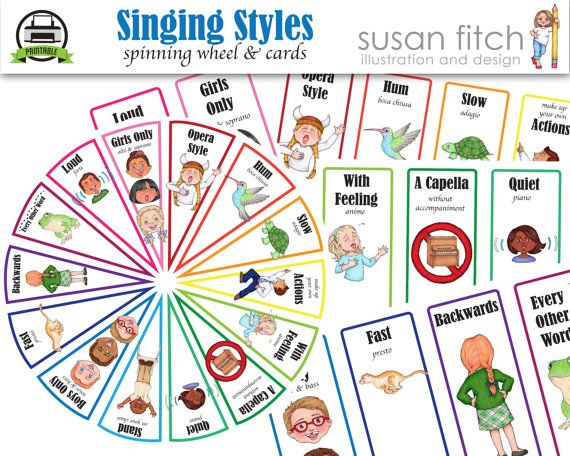 Singing Styles Spin Wheel & cards by SusanFitchDesign on Etsy