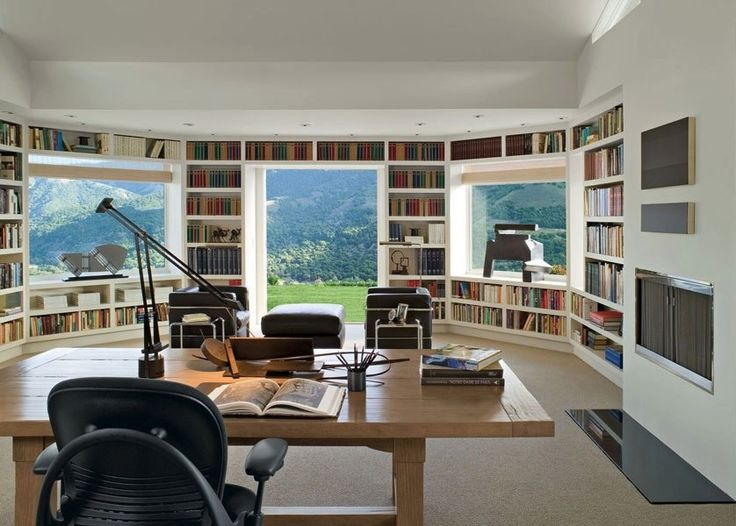 I love the openness the windows create with a chaise lounge or comfy chair to read in this would be the ideal workspace with a library