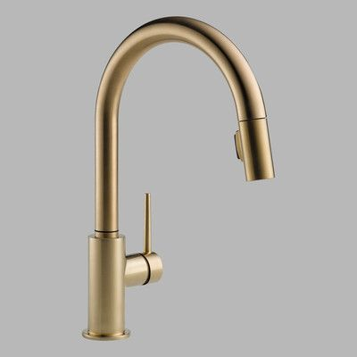 Picture of Delta Trinsic Single Handle Single Hole Kitchen Faucet Finish: Champagne Bronze in Large Size