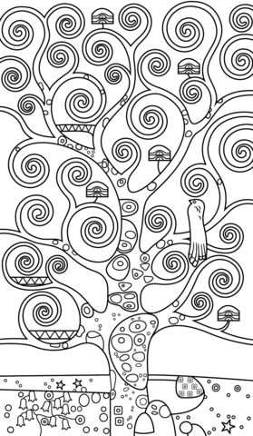 Tree of Life by Gustav Klimt Coloring page