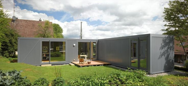Beautiful L shaped house; Modular Living Space with Nice Interior : Wonderful L Shape Green House Design From Recycled Container Structure