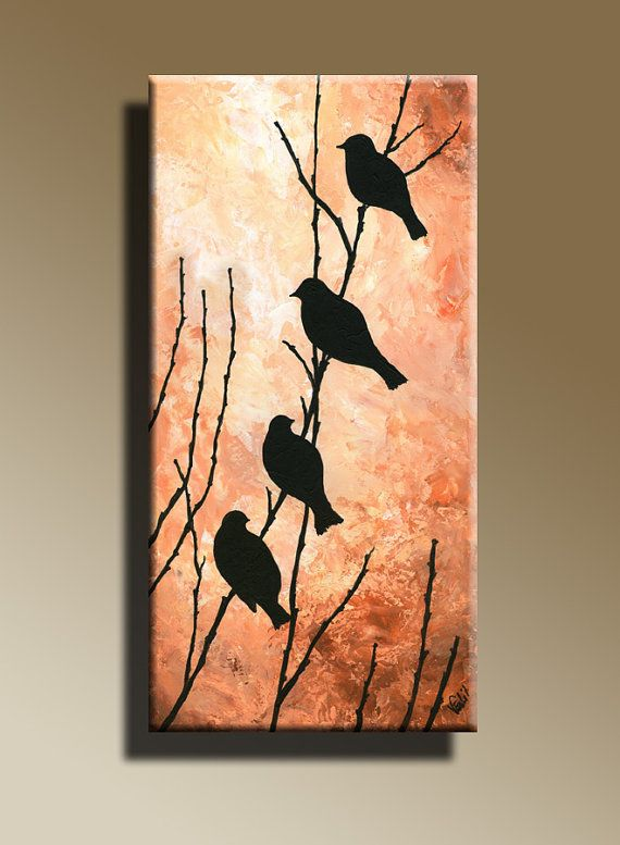 Canvas Print of Original acrylic painting  Night Bird Serenade Wall hanging…