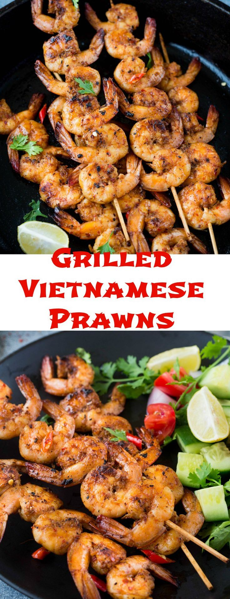 Grilled Vietnamese Prawns/Shrimps are prawn marinated in lemongrass ,fish sauce ,spices and grilled till golden brown. Perfect for summer barbecues.