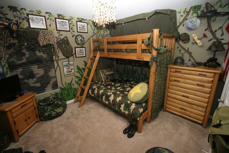 Funky Army Themed Kid Room Ideas For Boys Bedroom Design With Rustic Wood Bunk Bed Idea And Inspiring Jungle Wall Decors Also Natural Wooden Cupboard Design Plus Cool Army Accesories Ideas